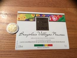 Etiquette Vin « BEAUJOLAIS VILLAGES NOUVEAU - CAVE COOP. - QUINCIÉ (69)» - Beaujolais