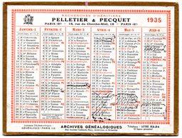 Petit Calendrier Cartonné 1935, Pelletier & Pecquet, Recherche D'héritiers, Paris. - Petit Format : 1921-40