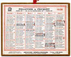 Petit Calendrier Cartonné 1938, Pelletier & Pecquet, Recherche D'héritiers, Paris. - Calendriers