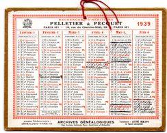 Petit Calendrier Cartonné 1939, Pelletier & Pecquet, Recherche D'héritiers, Paris. - Calendriers
