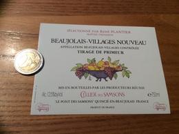 Etiquette Vin « BEAUJOLAIS VILLAGES NOUVEAU - CELLIER DES SAMSONS - RENÉ PLANTIER - QUINCIÉ (69)» (fruit) - Beaujolais