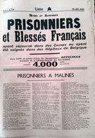 1940 - Noms Et Adresses, Prisonniers Et Blessés Français En BELGIQUE - 4000 Noms - Liste A ( Incomplète ) - Magazines & Papers