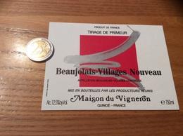 Etiquette Vin Type 1 « BEAUJOLAIS VILLAGES NOUVEAU - Maison Du Vigneron - QUINCIÉ (69)» - Beaujolais