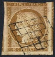N°1a, Cérès 1850, 10c BISTRE-BRUN, Oblitéré Grille Noire - B/TB - 1849-1850 Cérès