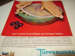 ANCIENNE PUBLICITE COUVERCHE HERMETIQUE TUPPERWARE 1965 - Autres