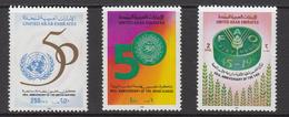 1995 United Arab Emirates 50th Anniv UN, FAO, Arab League Emblems Set Of 3 MNH - Emirats Arabes Unis