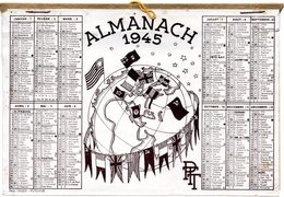Almanach, Calendrier PTT 1945. Carte De Chemins De Fer, Tarifs Postaux, Levers Et Couchers De Soleil. Illust. Drapeaux.. - Calendriers