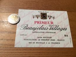 Etiquette Vin « BEAUJOLAIS VILLAGES PRIMEUR - Valentini - LUCIEN MEUNIER - LE PERRÉON (69)» - Beaujolais