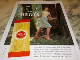 ANCIENNE PUBLICITE LES PATES ALIMENTAIRE LA LIGNE   REGIA 1965 - Affiches