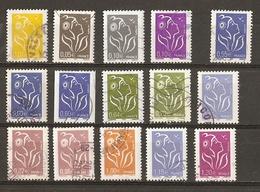France 2005/2008 - Marianne De Lamouche - Valeurs En Euros - Petit Lot De 15 Timbres ° - 12 Cachets Ronds - Stamps