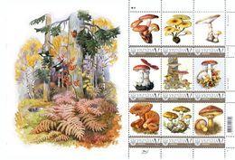 Ukraine 2018, Mushrooms, Sheetlet Of 9v - Ukraine