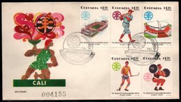 COLOMBIA- KOLUMBIEN - 1971.FDC/SPD. PANAMERICAN GAMES CALI'71. BASEBALL,JOCKEY,STADIUMS AND WEIGHT LIFTING - Colombia