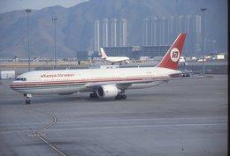 SLIDE / AVION / AIRCRAFT   KODAK  ORIGINAL  KENYA AIRWAYS  B 767 5Y-KGX - Diapositives