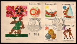 COLOMBIA- KOLUMBIEN - 1971.FDC/SPD. PANAMERICAN GAMES CALI'71. BOXING,MEDALS,YATCH,STADIUM AND EMBLEM - Colombia