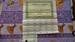 Action De 1000 Francs Canonge Et Biallez à Alès (Gard) - Actions & Titres