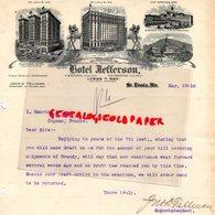 ETATS UNIS AMERIQUE- RARE LETTRE HOTEL JEFFERSON-SAINT LOUIS-PLANTERS -EASTMAN -ARLINGTON-GAINES-FORDYCE-LYMAN T. HAY - USA