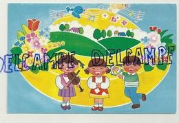 Carte Double. Opération Terre Des Enfants :Trois Enfants Musiciens. Tambourin, Violon - Enfants