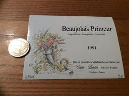 Etiquette De Vin 1991 «BEAUJOLAIS PRIMEUR - CÉCILE PICHELIN - BLACÉ (69)» - Beaujolais