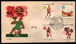 COLOMBIA- KOLUMBIEN - 1971.FDC/SPD. PANAMERICAN GAMES CALI'71. JOCKEY,STADIUM,BASKETBALL AND WEIGH LIFTING - Colombia