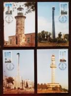 ROUMANIE, Phare, Phares, Faro, Lighthouse. 4 Cartes Maximums FDC, 1er Jour. Serie Complete 1998 - Fari