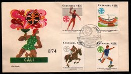COLOMBIA- KOLUMBIEN - 1971.FDC/SPD. PANAMERICAN GAMES CALI'71. VOLLEYBALL,EQUESTRIAN,SOCCER AND STADIUM - Colombia