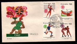 COLOMBIA- KOLUMBIEN - 1971.FDC/SPD. PANAMERICAN GAMES CALI'71. VOLLEYBALL,BOXING,SOCCER AND STADIUM - Colombia