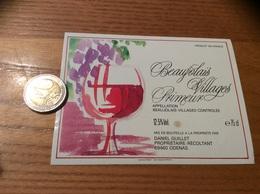 Etiquette De Vin «BEAUJOLAIS VILLAGES PRIMEUR - DANIEL GUILLET - ODENAS (69)» - Beaujolais