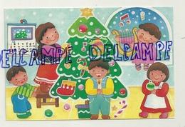 Carte Double. Opération Terre Des Enfants Enfants. Enfants Qui Décorent Un Sapin, Ange, Luth - Enfants