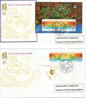 Année Du Dragon 2000 Série + B-F De L'île Christmas (Océan Indien)  Deux  FDC's - Nouvel An Chinois