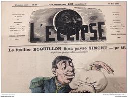 1868 Journal L'ÉCLIPSE N° 19 LE FUSILIER BOQUILLON ET SA PAYSE SIMONE Par Andre GILL - Journaux - Quotidiens