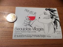 Etiquette Vin «BEAUJOLAIS VILLAGES PRIMEUR - SCEA Domaine Des Charmieux -ML Bertholdo &P Chassagne -Lantignié (69)» - Beaujolais