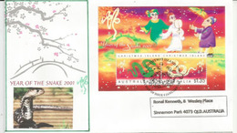 Année Du Serpent 2001 , B-F De L'île Christmas (Océan Indien)   FDC - Nouvel An Chinois