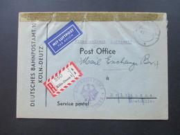 BRD 1956 Seltene Postsache LuPo Einschreiben Nach Australien Mit AK Stempel PMOB. Bahnpostamt Köln - Deutz - BRD
