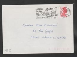 Flamme Dpt 63 : VIC LE COMTE (SCOTEM N°  9960 émise Le 01/04/1989) : Ancienne Capitale Comté Auvergne - Vielles Maisons - Poststempel (Briefe)