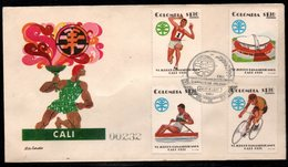 COLOMBIA- KOLUMBIEN - 1971.FDC/SPD. PANAMERICAN GAMES CALI'71. ATHLETISM,STADIUM,ROWING AND CICLISM - Colombia