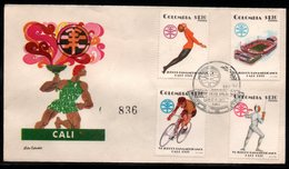 COLOMBIA- KOLUMBIEN - 1971.FDC/SPD. PANAMERICAN GAMES CALI'71. GIMNASTICS,STADIUM,CICLISM AND FENCING - Colombia