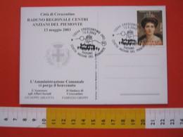 A.03 ITALIA ANNULLO - 2003 CRESCENTINO VERCELLI RADUNO CENTRO ANZIANI DEL PIEMONTE OLD MAN TRASPORTO CAMPANILE - Salute
