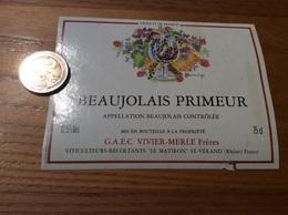 Etiquette Vin «BEAUJOLAIS PRIMEUR - GAEC VIVIER-MERLE Frères - ST-VÉRAND (69)» - Beaujolais