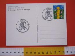 A.03 ITALIA ANNULLO - 2003 BORGOSESIA VERCELLI 1° CONVEGNO CARNEVALE D' EUROPA MASCHERE CARD BANDIERE EU - Carnevale