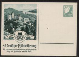 Dt. Reich - Privatganzsache/Postkarte PP 142 C 3/01 - 42. Deutscher Philatelistentag 6.-7. Juni 1936  - Ungebraucht - Deutschland