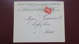 Lettre  En Tete Sté Générale Des Cirages Français Lyon Semeuse Perforé  CF 100-1  (catalogue Ancoper )1912 - France