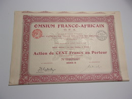 OMNIUM FRANCO-AFRICAIN (1928) - Non Classés