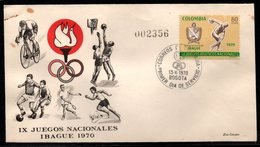 COLOMBIA- KOLUMBIEN - 1970.FDC/SPD. IX NATIONAL GAMES. IBAGUE CITY 1970 - Colombie