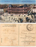 """BRUXELLES - Place Rogier - Gare Du Nord - Cachet Militaire """"Trésor Et Postes""""    (110545) - Spoorwegen, Stations"""