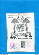Marcophlie-Réunion-encart Document -N°0186-xx°anniversaire Asso Phil Cad-St Paul+st Denis1980-2-stamps- - Marcophilie (Lettres)