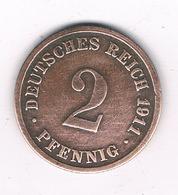 2 PFENNIG 1911 D   DUITSLAND/8505/ - [ 2] 1871-1918 : Empire Allemand