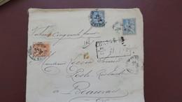 Mouchon Affranchissement 65 Ct  Sur Lettre Chargé Valeur Déclarée 500 F En Poste Restante 1902 - Marcophilie (Lettres)