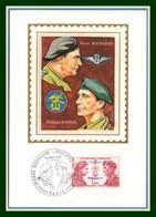 Carte Maximum Silk Soie France N° 1773 Bourgoin Kieffer 1973 Parachutistes Parachutisme - Militaria