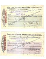 THE ANGLO-SOUTH AMERICAN BANK LIMITED - SUCURSAL DE SAN SALVADOR - 2 CHECKs 1935 - Chèques & Chèques De Voyage