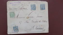 Mouchon Blanc Affranchissement 80 Ct  Sur Lettre Chargé Valeur Déclarée 500 F Bordeaux 1902 - Postmark Collection (Covers)